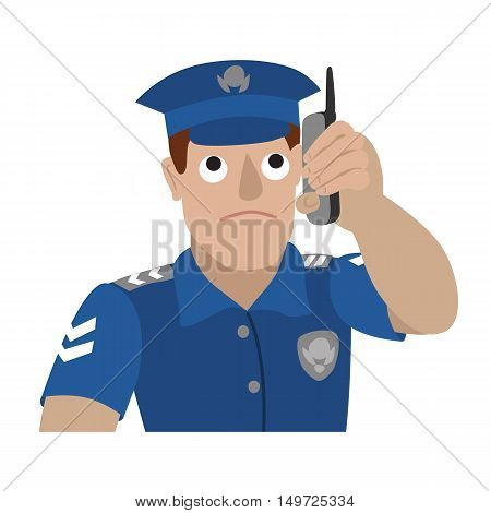 Vector illustration of policeman talking on a mobile phone isolated on white background. Portrait in flat style.