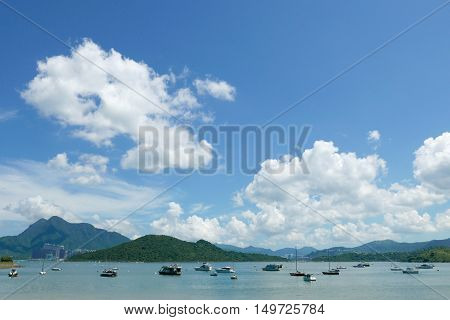 Motorboat, Lake, Mountain, Blue Sky And White Cloud