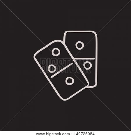 Domino vector sketch icon isolated on background. Hand drawn Domino icon. Domino sketch icon for infographic, website or app.