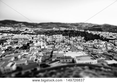 Cityscape With Mountains And Buildings, Tilt-shift Effect