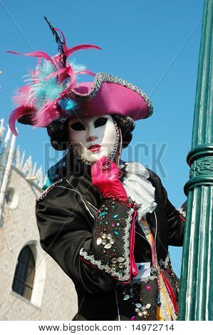 Lady in costume at St. Mark's Square during the Carnival of Venice on March 8 ,2011