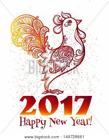 Red fiery colors hand drawn ornate rooster with Happy New Year sign - Chinese symbol of 2017 new year