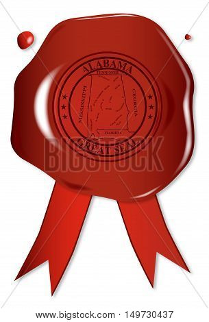 A wax seal with a the state seal of Alabama