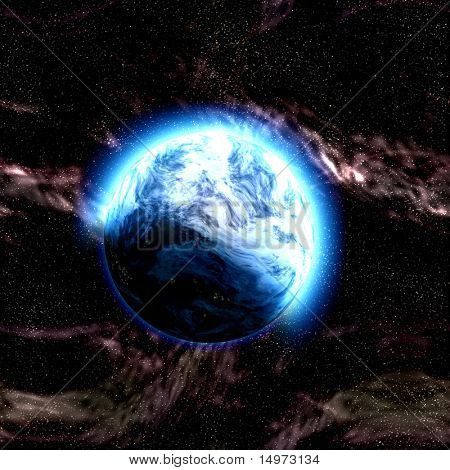 Science fiction planet complex space scene illustration
