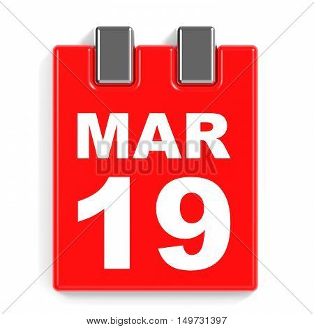 March 19. Calendar On White Background.