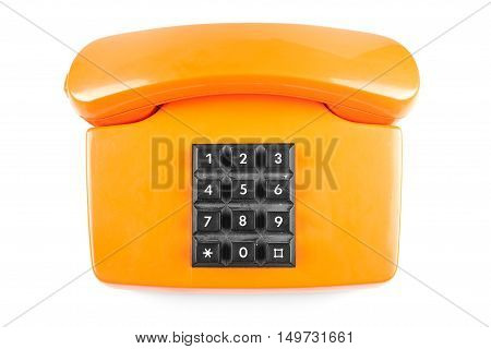 Orange phone with shadow on white background up side