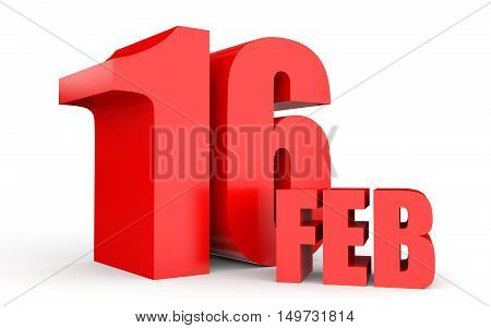 February 16. Text On White Background.