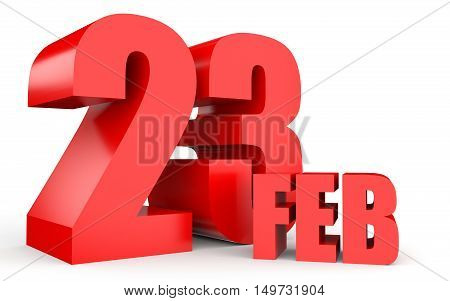 February 23. Text On White Background.
