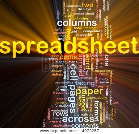 Word cloud concept illustration of spreadsheet software glowing light effect