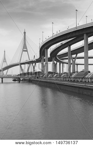 Black and White, Suspension bridge connect highway riverfront, Bangkok Thailand