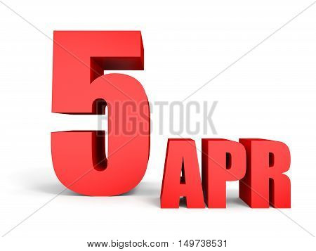 April 5. Text On White Background.