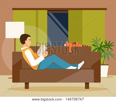Young man lying on the couch and reading a book. Recreation. Vector illustration