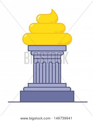 Golden poop award. Funny trophy vector illustration.