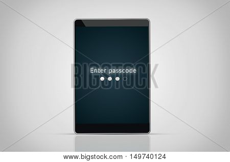 Security concept: render of a tablet pc with passcode on the screen