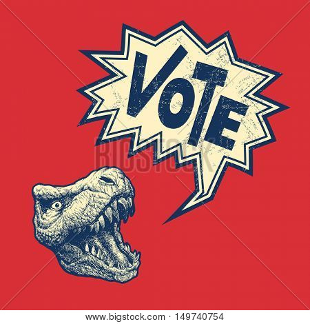 Vote Poster with T-rex head