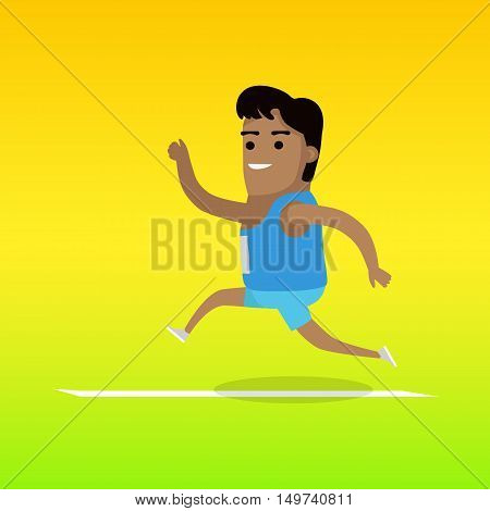 Athletics sport template. Active way of life concept. Competitions, achievements, best results. Happy cartoon runner.