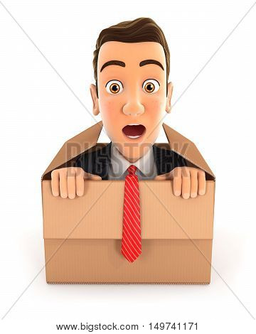 3d businessman coming out of the box illustration with isolated white background