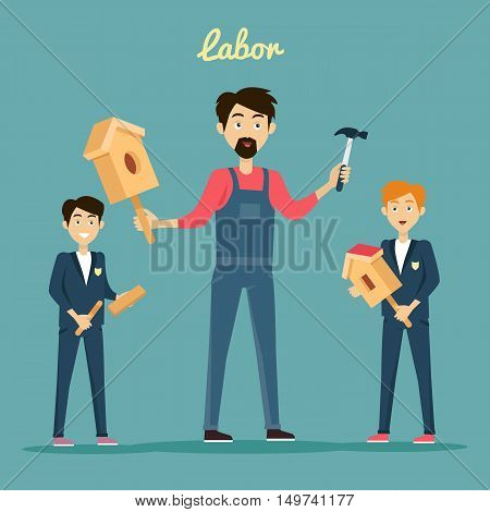 Teacher teaches students to build a birdhouse made of wood with a hammer. Labor education work and study lesson, vector illustation