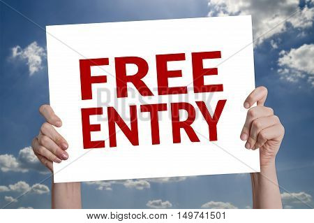 Free entry card with blue sky background