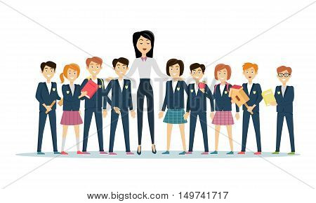 Teachers day celebration. Young teacher with pupils. Back to school. Primary education. World Book Day. Awareness professor with appreciated students. Education concept. Vector illustration.