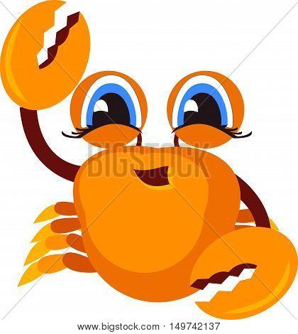 Crab icon. Funny cartoon crab for you design