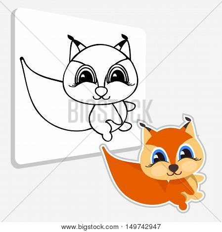 Art Coloring book Squirrel. Illustration Squirrel. Line icon profile view. Vector illustration on white background