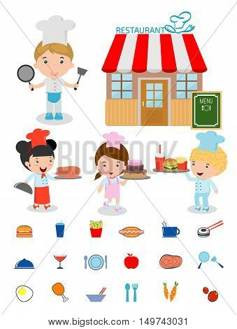 Cute Kids Chef,Kids Cooking, Children Cooking, Children chef cute, kids in a chef's hat,chef's cooking, costume of chef for kids, food icons, restaurant, kids menu, food and drink, kids and restaurant