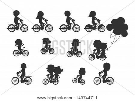 Set of diverse bicyclists silhouettes, Happy family riding bikes , Family Biking Together, Sports family. family and bikes, bicyclists silhouettes collection, vector illustration