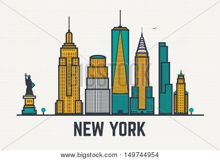 New York city architecture skyline silhouette. Line pixel style art.