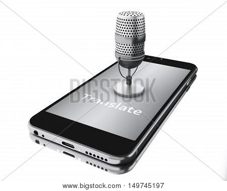 3d renderer illustration. Smartphone with word translate and a mic. translation concept. Isolated white background.