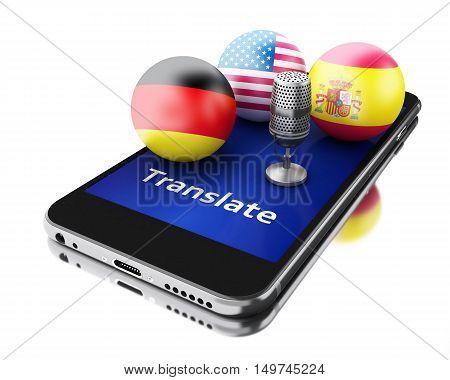 3d renderer image. Translate foreign languages on smartphone. Education and translation concept.