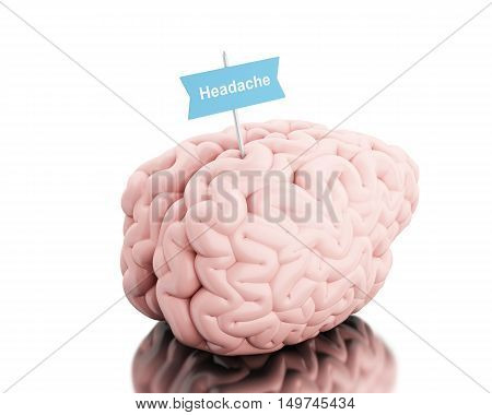 3D Illustration. Brain with a signboard and word headache. Isolated white background.