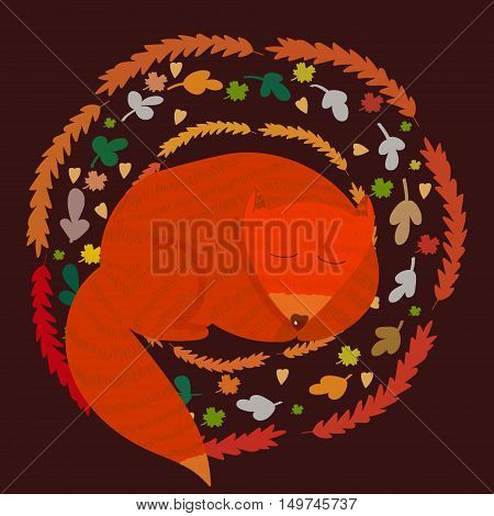 Vector cute illustration of a ginger fox cub sleeping in an autumn wreath on a brown background. Cute image for children goods and printed production design element for autumn and animal themes.