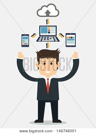 Business man show electronic device and cloud connection ( smartphone tablet and computer are connecting to cloud server for sharing input and output data )