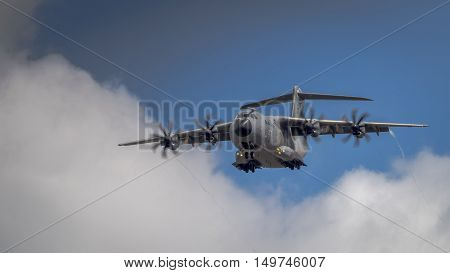 Farnborough UK - 6th July 2016: An Airbus A400M Atlas military transport in flight