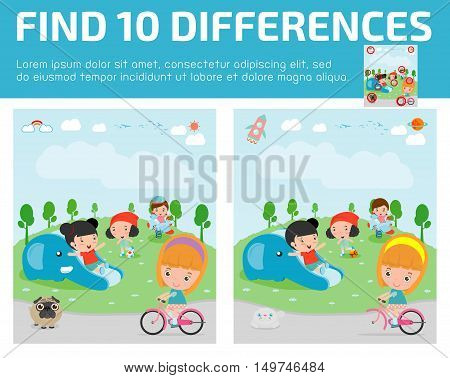 find differences,Game for kids ,find differences,Brain games, children game, Educational Game for Preschool Children, Vector Illustration, kids at playground, kids at playground.