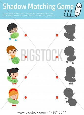 Shadow Matching Game for kids, Visual game for kid. Connect the dots picture,Education Vector Illustration. Happy kids holding smiling live vegetables ,Children and vegetables.