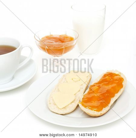 Tea, Bread, Cheese, Milk And Jam