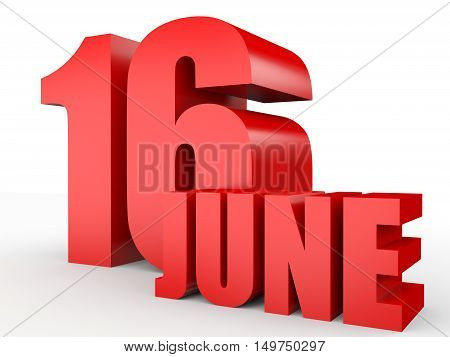 June 16. Text On White Background.