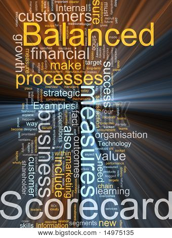 Word cloud concept illustration of balanced scorecard glowing light effect