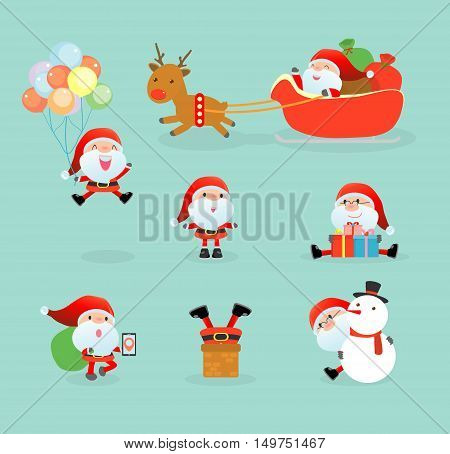 Collection of Santa Clauses, set of Christmas Santa Claus, Santa on winter background. Merry christmas, Vector Illustration