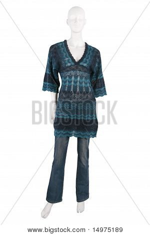 Mannequin Dresses In Female Knit Tunic And Jeans