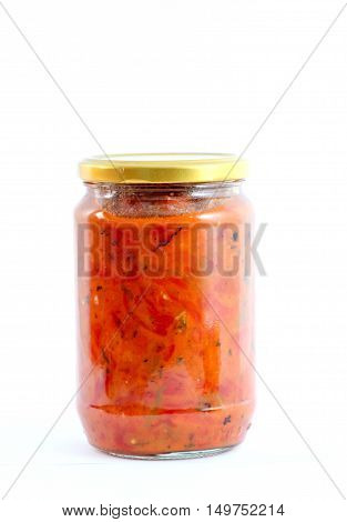 picture of a Traditional Macedonian food. Luteniitza in jar . homemade product