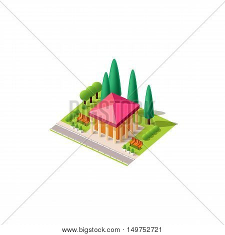 Stock vector illustration isometrics isolated administrative building with columns with arranged territory for business center on a white background