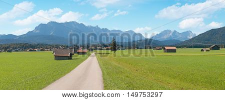 Valley Bottom Wallgau With Meadow And Huts, Mountain Range Wetterstein