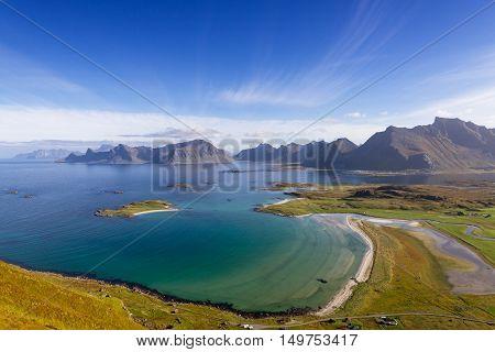 Viewpoint on top of Roren Lofoten Norway