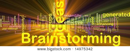 Word cloud concept illustration of Brainstorming brain storming glowing light effect