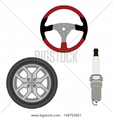 Vector icon set collection car parts. Sport steering wheel spark plug and wheel. Auto details