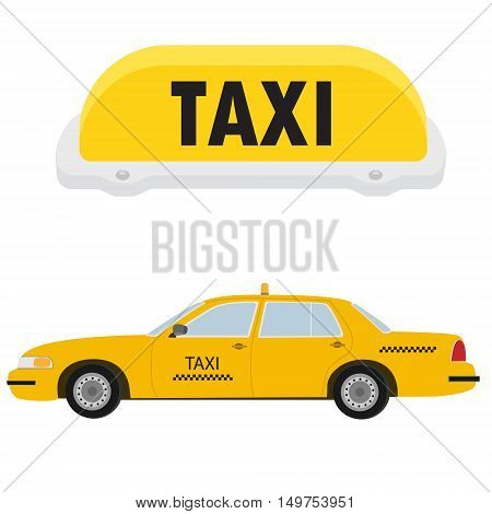 Vector illustration yellow taxi car cab side view and yellow taxi sign. Public transportation