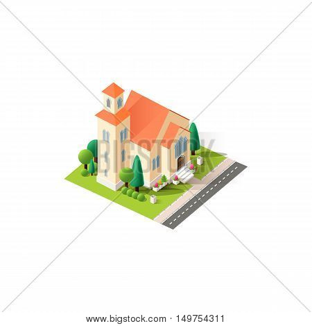Stock vector illustration isometrics isolated Christian church, religious building, temple with arranged territory for business center on a white background